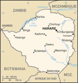 Carte Zimbabwe, crédit Wikipédia